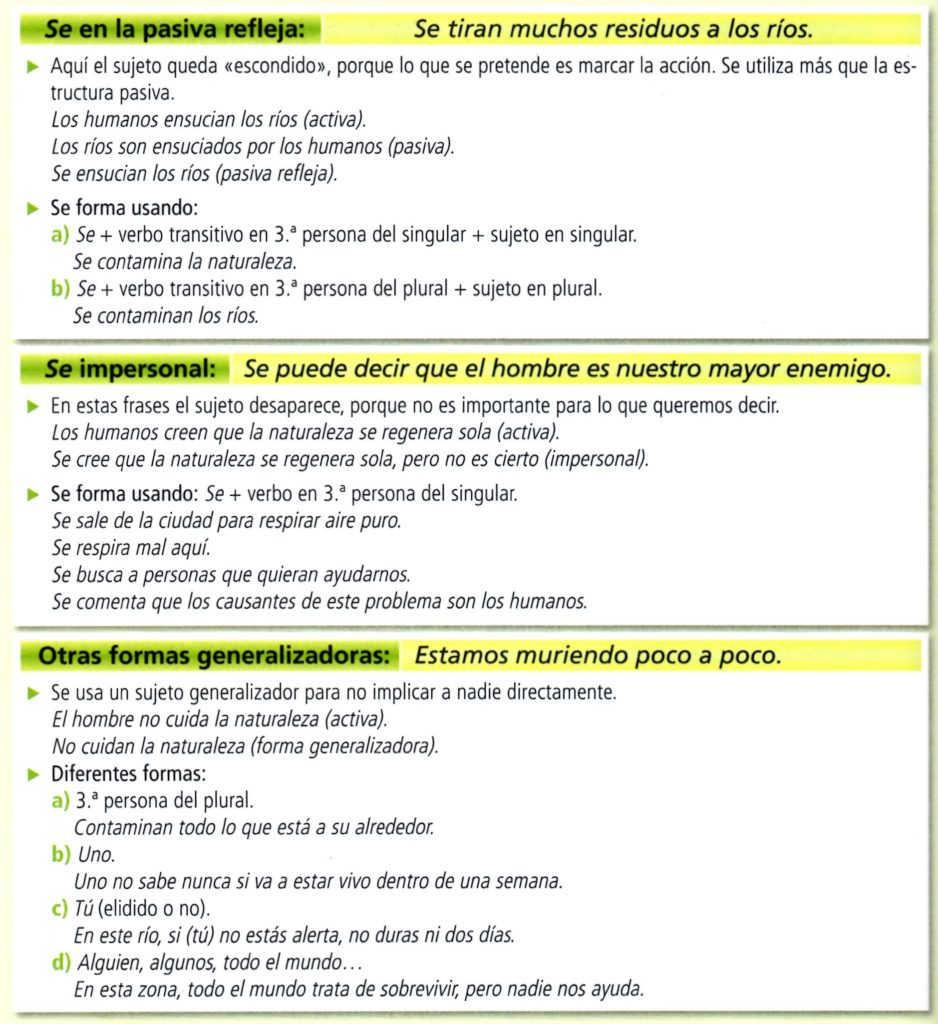 Oraciones impersonales en español